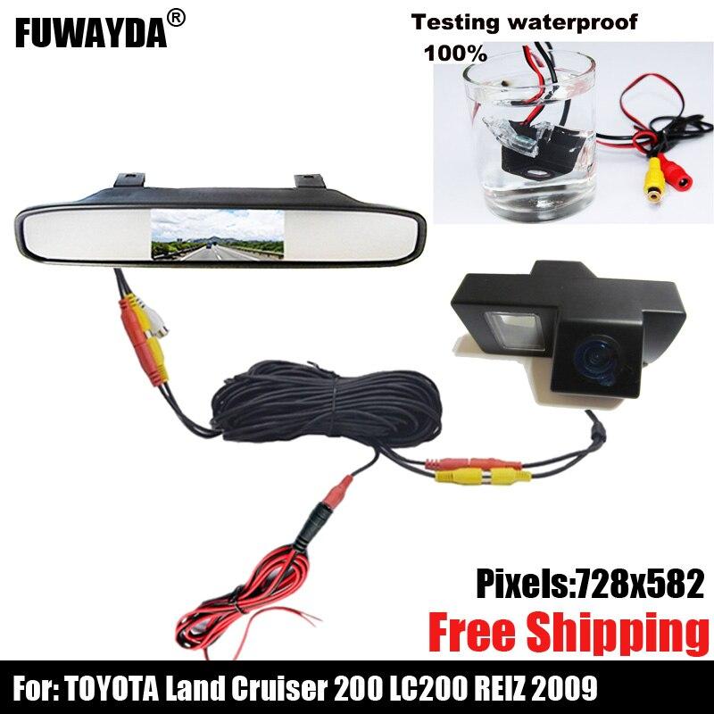 Caméra de vue arrière de voiture couleur CCD pour TOYOTA LAND CRUISER 200 LC200/Toyota REIZ 2009, avec moniteur de rétroviseur 4.3 pouces