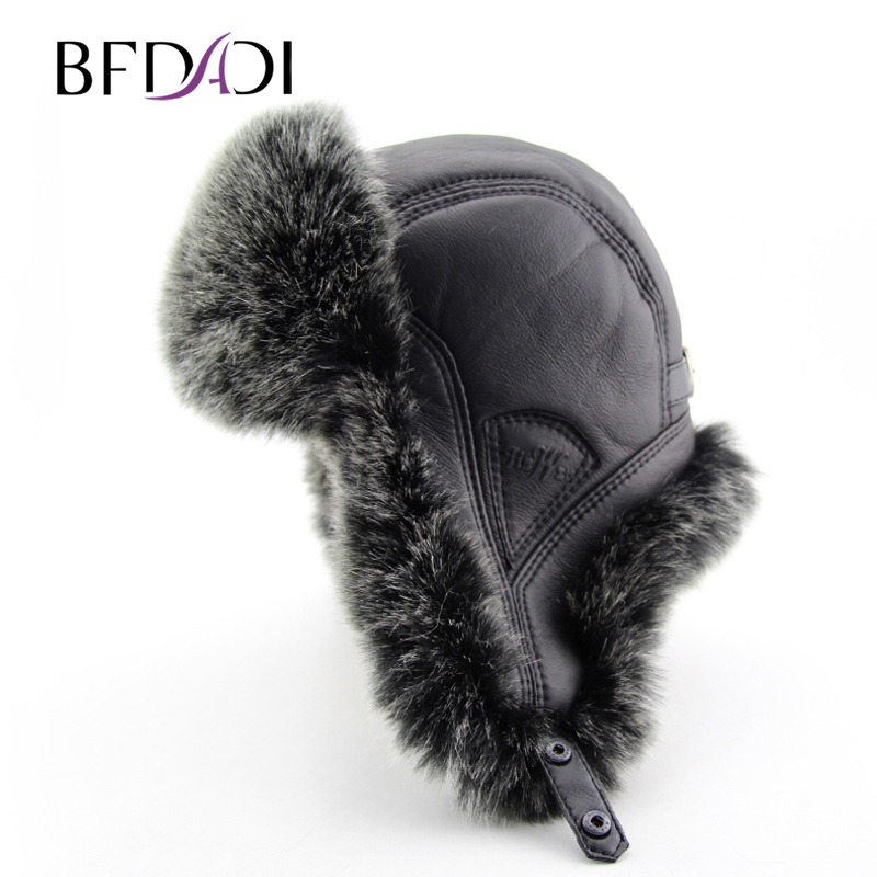 BFDADI 2017 New Men Winter Warm Bomber Hats Russian Cap Trapper Caps Aviator Trooper Earflap Hats Outdoor Sport Hat FreeShipping
