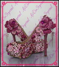 Aidocrystal Luxus marke benutzerdefinierte blume strass high heel rosa hochzeit schuhe frauen und passende tasche