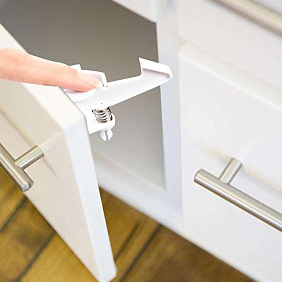 10PCS Fashion Useful Pratical Safe Cabinet Locks Spring Lock Child Safety Locks