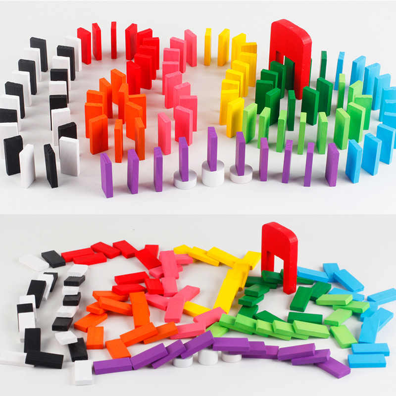 100 штук 10 цветов Деревянные домино детские игрушки классические настольные игры/настольные игры деревянные строительные блоки домино сложные игры подарок