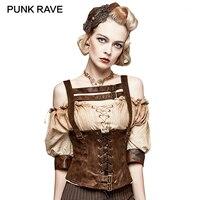 PUNK RAVE Steampunk Frauen Kleidung Zubehör Leibchen Schlank Korsett Weste Fashion Sexy Backless Pu-leder Weste Tanks Camis