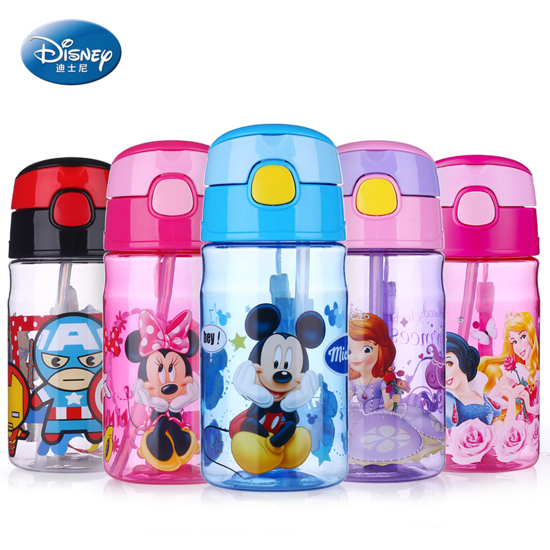 Disney 400ML Baby Feeding Straw <font><b>Cup</b></font> Durable Mickey <font><b>Minnie</b></font> Leak-poof Drinking Bottle Portable Suction <font><b>Cup</b></font> for Kids