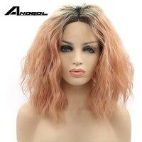 Anogol Handmade Synthetic Lace Front Wig Peruca Laco Sintetico Short Wave Mixed Color Heat Resistant Fiber