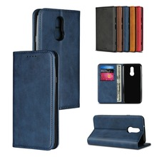 LUCKBUY Hight Quality Calf Grain Leather Strong Magnetic Flip Cover For LG Style /L-03K Luxury Wallet Phone Case for G7