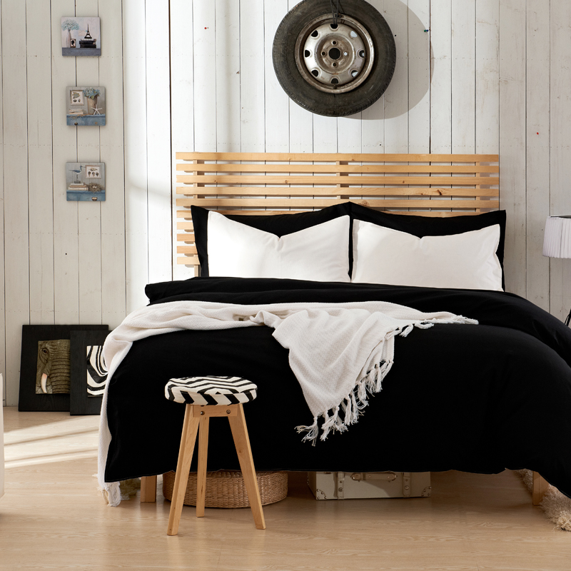 2017 Hot Sales Pure Black Bedding Set Twin Queen King Size Bedding Bed Linen