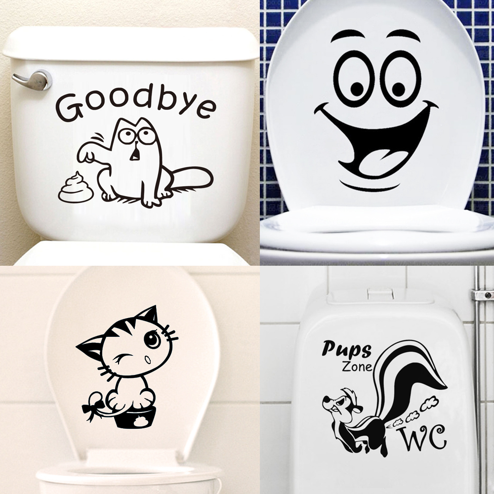 MT01 Cute Cartoon Removable Vinyl Wall Stickers Waterproof Wall Decals For Toilet Sticker Decorative Bathroom Home Decor