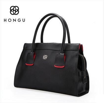 HONGU New leather handbags fashion large-capacity high-quality leather handbag soft leather hand bag large bag E