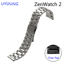 For ASUS Zen Watch 2 Quality solid stainless steel watch bands 22mm Replacement steel strap black silver