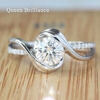 Подлинная 14 К 585 белого золота с 1 ct GH Цвет Лаборатория Grown Муассанит алмаз Обручение Eternity кольцо с реальным алмаз акценты