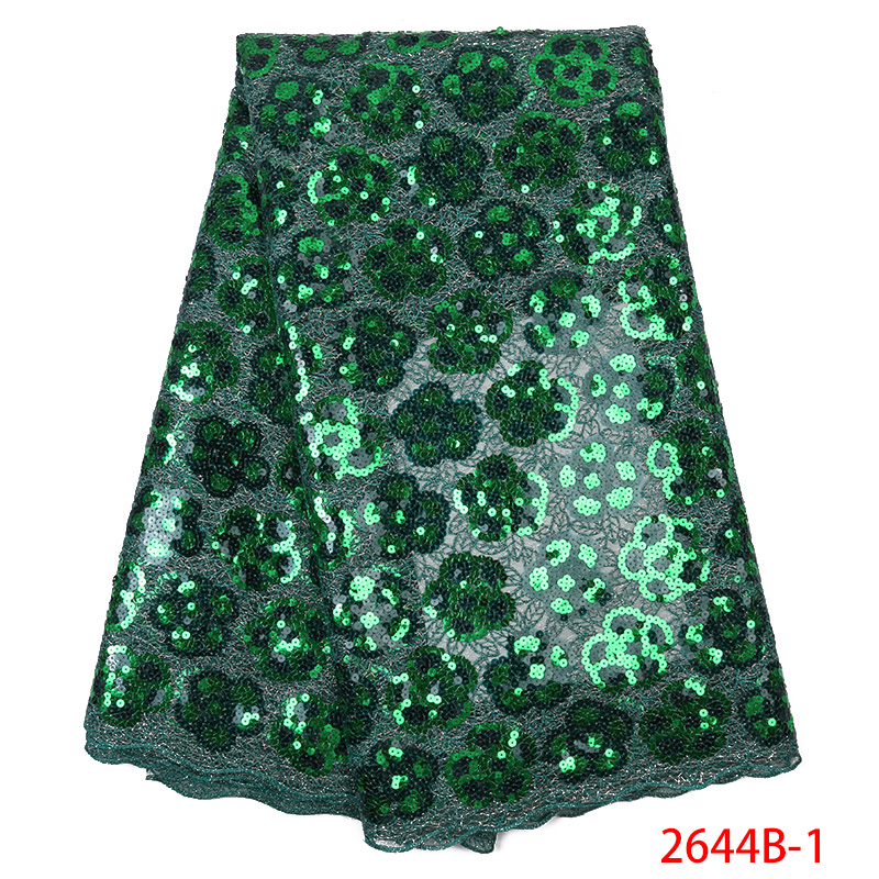 Latest Green Organza Lace Fabrics Fashion Sequins Lace Fabrics for Wedding Party Dress Nigerian French Tulle