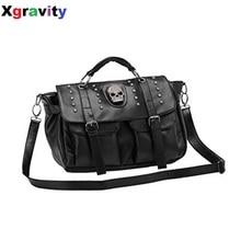 Hot Schwarz Farbe Einzigartiges Design Mode Lässig OL Büro Tasche allgleiches Große frauen Kühlen Handtasche Mode Punk Schädel Niet Taschen H080