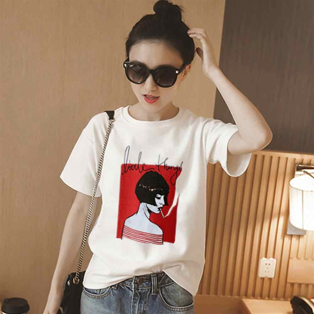 Vrouw Katoenen T-shirt Harajuku Esthetiek Tshirt Print Korte Mouw Tops Tees Fashion Casual Paar T-shirt dames half mouwen