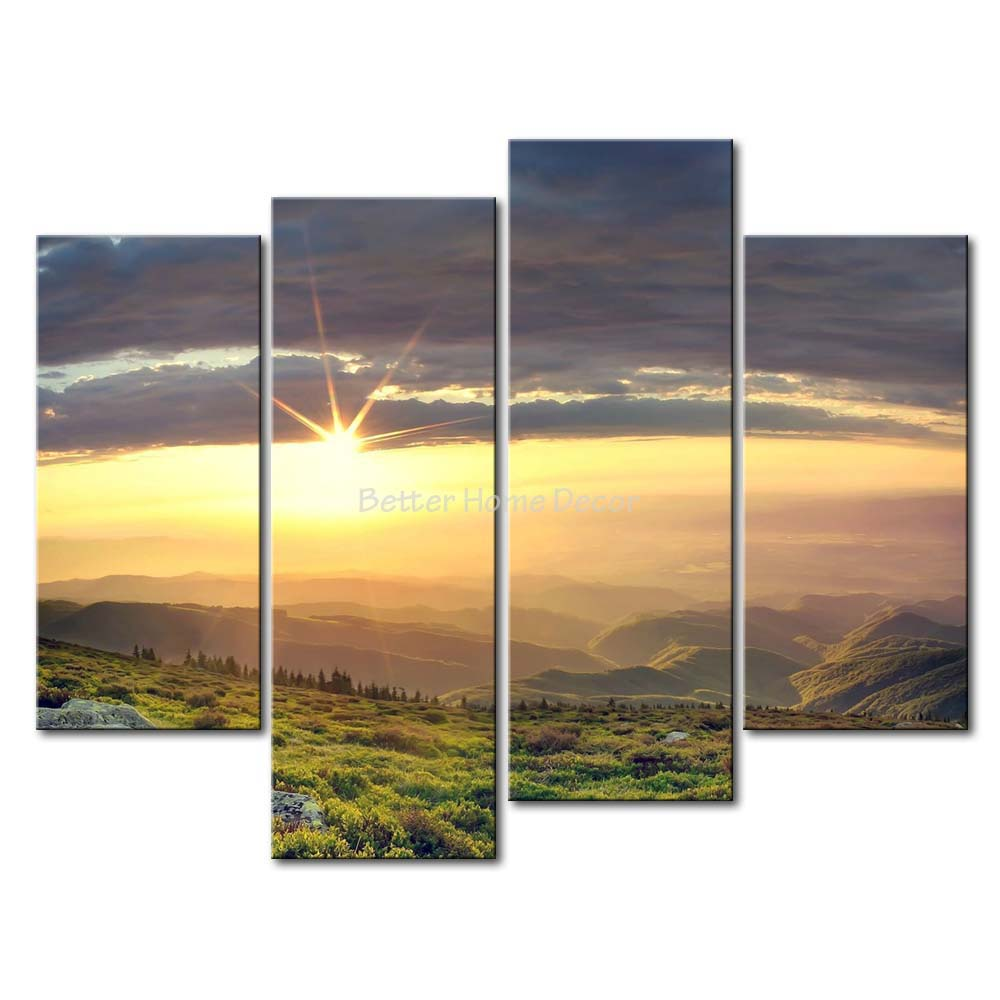 3 Piece Wall Art Painting Sunset In The Spring Mountains Rock Green ...