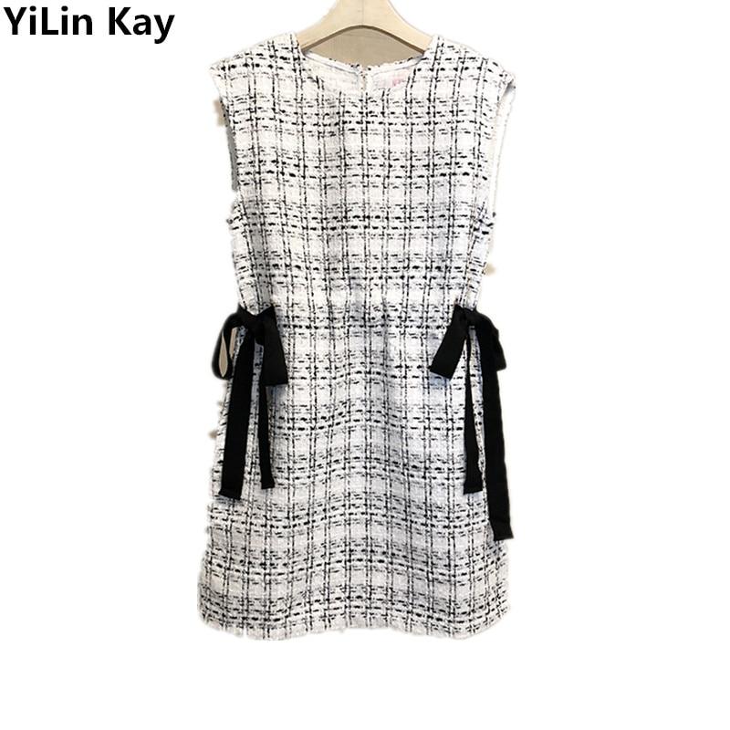 YiLin Kay 2019 Newest Runway Designer Autumn Winter Dress Bowknot braid temperament show thin sleeveless vest