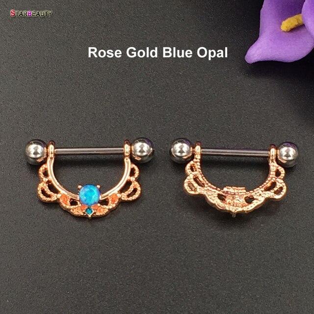 2 pcslot Cool OPAL Piercing Nipple Ring 14G Septum Nose Piercing