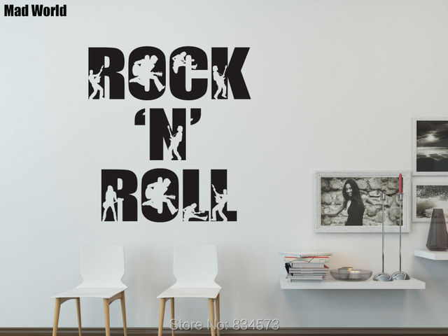 Mad World ROCK N ROLL Guitar Rockstar Music Wall Art Stickers Wall Decal  Home DIY Part 8