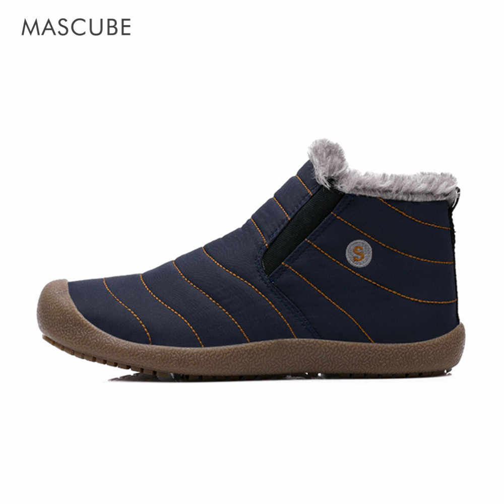 MASCUBE Hot Sale Winter 2017 Warm Fur Waterproof Hiking Shoes Slip On Climbing Shoes Soft Brand Men Outdoor Walking Shoes Male yin qi shi man winter outdoor shoes hiking camping trip high top hiking boots cow leather durable female plush warm outdoor boot