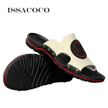 ISSACOCO Mens Slippers Flip Flops Summer Genuine Leather Beach Sandals Non-slip Male Home EU Size38-47