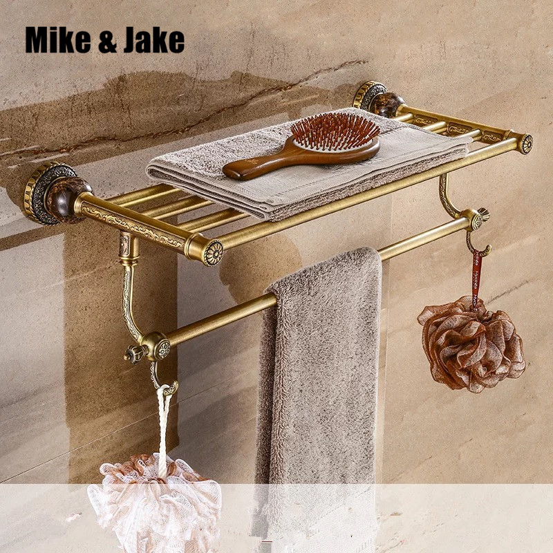 Brass folding black bath towel rack Active bath towel rack bathroom towel holder Antique Double towel