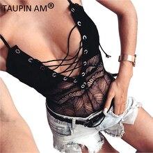 Черные на шнуровке сексуальное боди Топ Sexy Body костюмы для женщин Джемперы и комбинезон сексуальные Клубные вечерние бретельках Женские Боди Стринги
