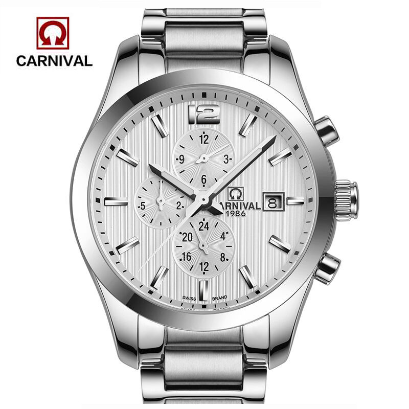 Carnival Top Brand Luxury Automatic Watch Men Stainless Steel Business Mechanical Watches Waterproof Male Clock relogios masculi men watch top luxury brand lige men s mechanical watches business fashion casual waterproof stainless steel military male clock