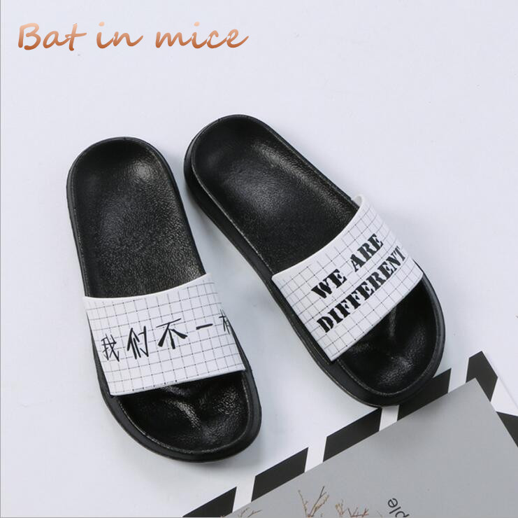 2018 Summer Women shoes Slippers Sandals Fashion Couple cute letters slippers Sandals Platform indoor Thick bottom Slides C209 mnixuan women slippers sandals summer
