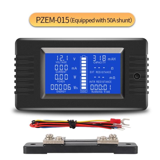 PZEM 015 200 в 50A тестер разряда батареи мощность SOC Сопротивление Цифровой амперметр вольтметр измеритель энергии