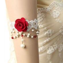 Женский сексуальный красный цветок ручной работы роза белое