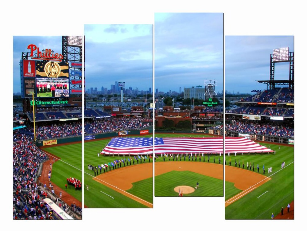 4 Piece HD Giclee Canvas Paintings Wall Citizens Bank Park Phillies Baseball American Flag For Living Room Bedroom Office Etc