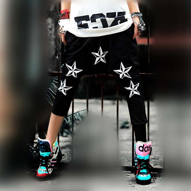 just.be.never hip hop style women summer harem pants black white pentagram  hip 7c101374d55c