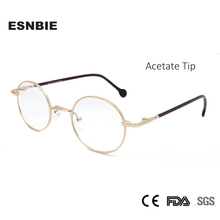 ESNBIE High Quality Alloy Metal Round Glasses Frame For Women Gold Men Vintage Oval Clear Lens Fashionable Spectacle Frames