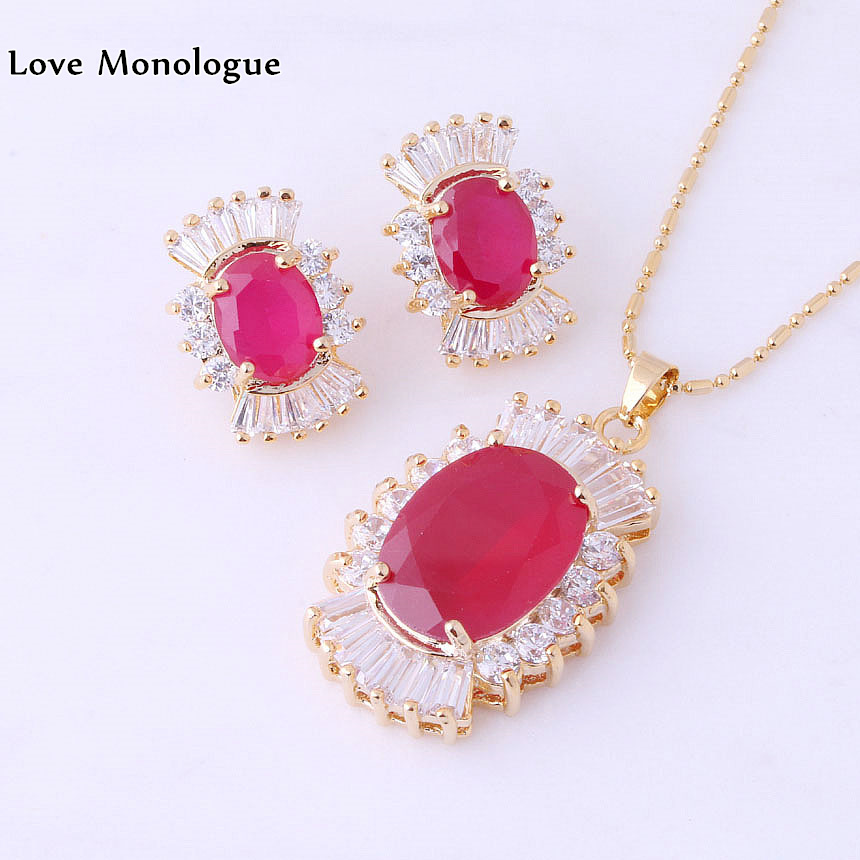 Láska Monolog Top kvalita Červená imitace Gemstone & White Cubic Zirconia Šperky Sady zdarma Dárková taška H0001  t