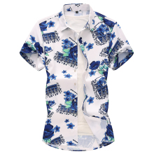 Plant Flowers Korean style Shirt for Men Blue Floral Beach leisure Hawaiian Mens Shirts Dress Fashion Summer New Plus size