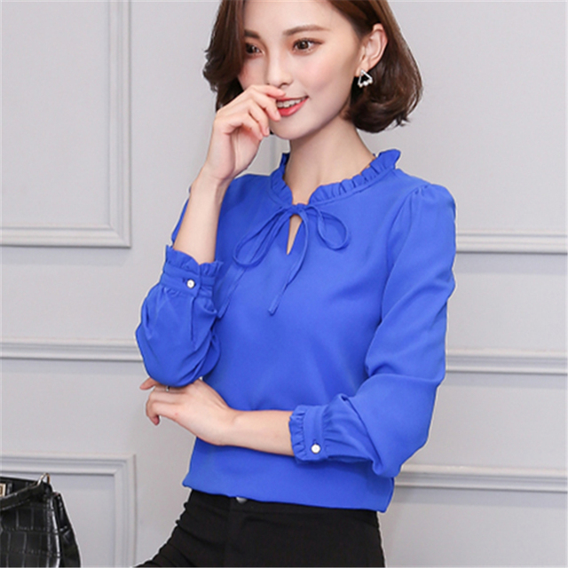 433cee1c903e 2017 New Summer Loose Solid Color Chiffon Blouse Tops Female Long Sleeve  Blouses O-Neck Women Shirt Office Work Wear Clothing
