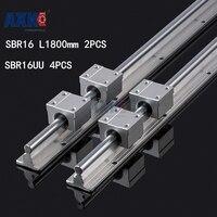 Axk Sbr16 Of 2 Takım-1800mm Desteklenen Lineer Ray Mil çubuk + 4 Sbr16uu Lineer Blokları 2 adet Sbr16 L1800 + 4 adet Sbr16uu