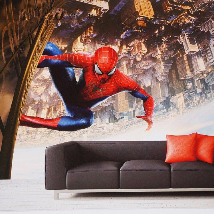 Us 1673 38 Offspider Man Photo Wallpaper Custom 3d Wallpaper Marvel Movies Wall Murals Superhero Kids Boys Room Decor Bedroom Interior Design In