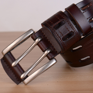 Image 4 - 100% High Quality Genuine Leather Belts for Men Brand Strap Male Pin Buckle Fancy Vintage Jeans Cowboy Cintos