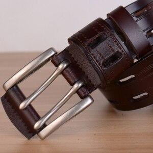 Image 4 - 100% Hohe Qualität Echtes Leder Gürtel für Männer Marke Strap Männlichen Pin Schnalle Phantasie Vintage Jeans Cowboy Cintos