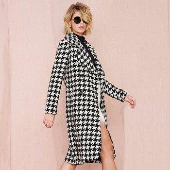 Women Wool Blends Plaid Coat 1