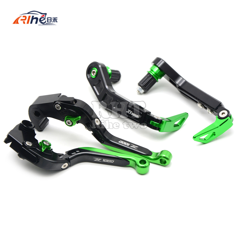 Motorcycle CNC Adjustable Folding Extendable Brake Clutch Levers & Handlebar Handle Guard Protector For KAWASAKI Z1000