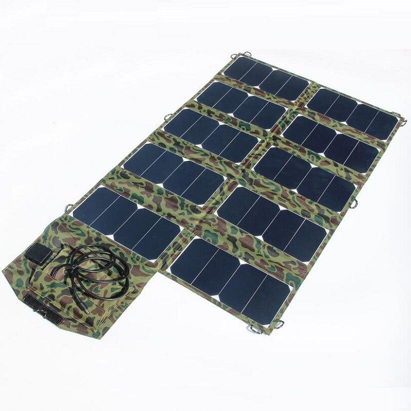 Haute Qualité Large Compatibilité 64 W Sunpower Pliable Chargeur Solaire pour Ordinateur Portable/Téléphone portable DC21V + Double Sortie USB haute Efficacité