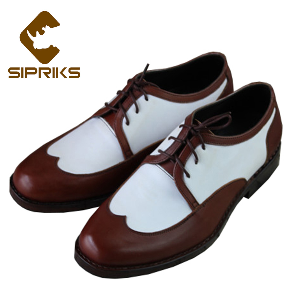 Sipriks Two Tone Dress Shoes For Men Classic Genuine Leather Brown White Wingtip Dress Shoes Boss Business Office Work Shoes New свитшот print bar pro gamer page 7