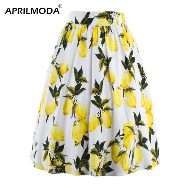 7603842b28c8 Print Women Skirts Summer 2018 Yellow Lemon Skirt Plus Size High Waist  Pleated Skirt Vintage Midi Skirts faldas saia jupe 2018