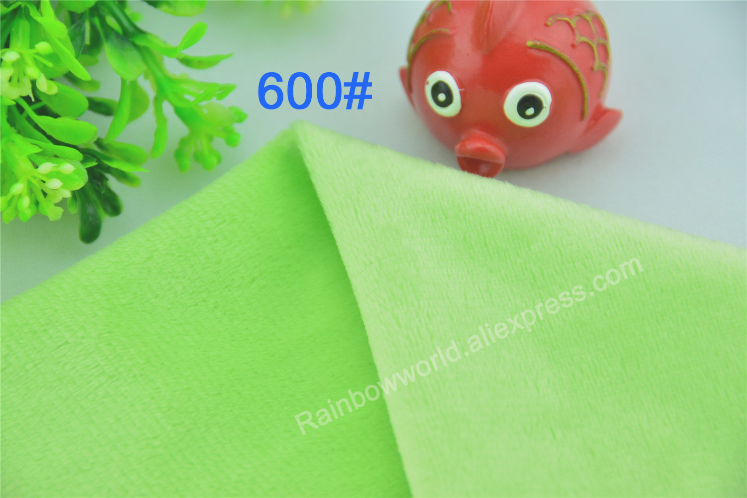 600# Light Green Color Super Soft Short Hair 2-3mm Fleece Fabric Velvet Microfiber Velbo ...