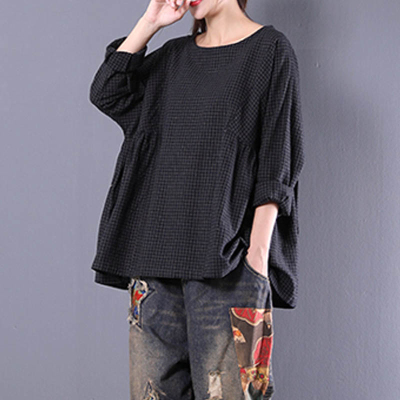 Hot 2019 ZANZEA Women Vintage Blouse Long Sleeve Round Neck Check Plaid Cotton Linen Pullover Blusas Ruffles Flouncing Shirt Top