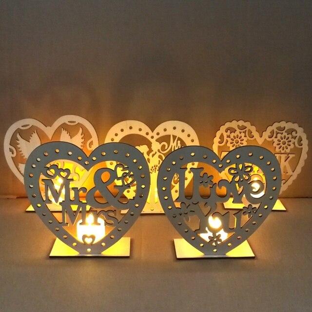 Corazón paloma de la paz con luces LED suministros de boda de madera decoración del hogar manualidades tarjeta decorativa