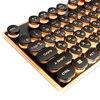 Gaming Russian Keyboard Retro Round Glowing Keycap Metal Panel Backlit USB Wired Metal Panel Illuminated