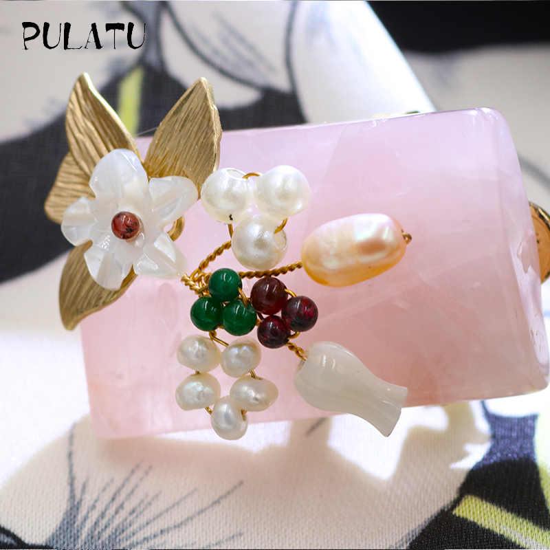 Pulatu Alami Shell Bunga Bros Wanita Mode Pink Kristal Plating Emas Daun Mutiara Bunga Buatan Tangan Wanita Bros Pins