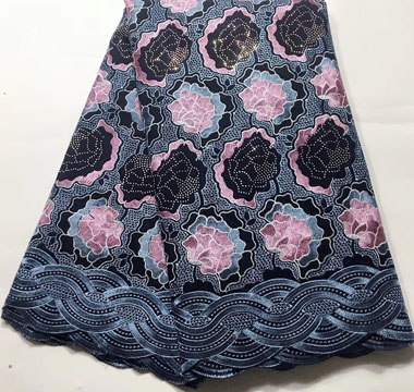 Cotton Swiss Lace Fabric Latest Design African Swiss Voile Lace Fabric In Switzerland Nigerian Lace Fabrics ESH024 Navy Blue